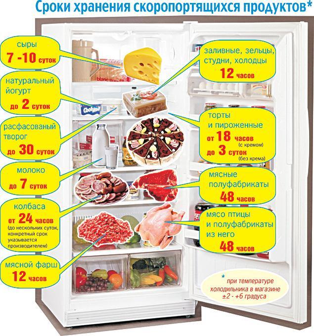 Сроки хранения скоропортящихся продуктов в холодильнике.
